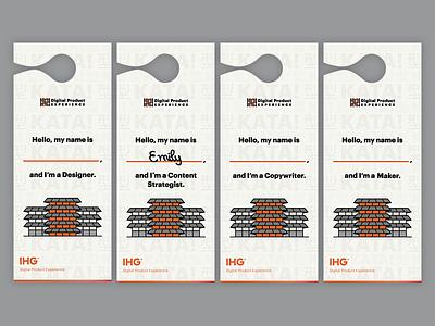 Door Hangers for Digital Product Experience at IHG ihg branding hospitality hotels door hanger