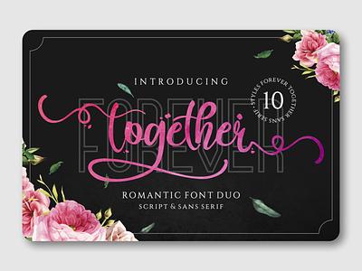 Forever Together Duo logo design logotype font awesome fonts script lettering love font font sans serif font duo handlettering script font