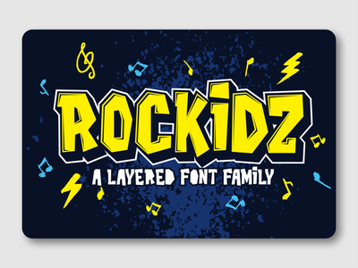 Rockidz font family rock display typeface logotype fonts font awesome font design layered font display font