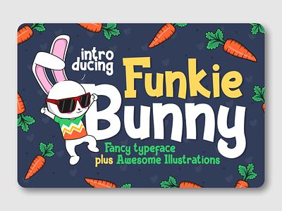 Funkie Bunny branding illustration bunny easter bunny kids font fancy font display typeface logotype font design font awesome fonts display font