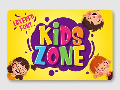 Kids Zone layered font advertisement kids font branding fancy font display typeface display font logotype font design font awesome fonts