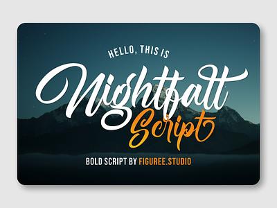 Nightfall Script script font bold script design vintage font packaging bold font advertisement branding logotype font design font awesome fonts