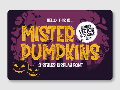 Mister Pumpkins pumpkins halloween bash halloween party halloween flyer halloween design halloween kids font bold font advertisement fancy font display typeface display font branding logotype font design font awesome fonts