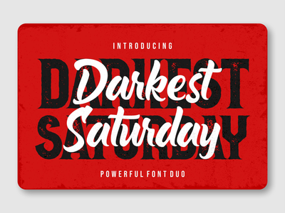 Darkest Saturday Duo black saturday rough font vintage font vintage font duo kids font packaging fancy font display typeface advertisement display font branding logotype font design font awesome fonts