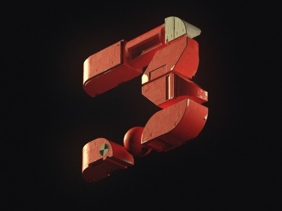 Numéro 3 3d nft type typography