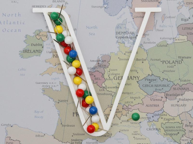V for Viaggiare (To Travel) viaggio typogaphy typo 3d letter render dribbble blender work travel viaggiare v letter project real 3d printer 3d printed 3d print 3d 36dayoftype 36days