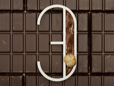 Three for Cioccolato (Chocolate) work real behance project dribbble rendering typo typography render blender nougat nutella chicolate three 3d printed 3d print 3d art 3d 36days 36daysoftype
