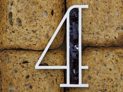 Four for Marmellata (Jam) 3d number work project 3d dribbble jam breakfast real 3d printer 3d print 3d art render blender typogaphy typo 36daysoftype 36days number 4 four