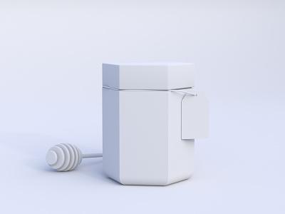 EternalBee - Honey Jar Clay 3d art inspiration design concept white clean minimal brand branding exagon rendering blender render clay honey jar package design package blender 3d 3d
