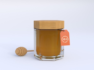 EternalBee - Honey Jar packaging packaging design bee mockup glass rendering render minimal jar exagon design concept clean honey branding brand blender 3d blender 3d art 3d