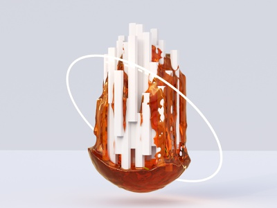 Abstract - City of Honey particles neon concept art elements honey organic clay clean design 3d art creative render glitch c4d fluid abstract illustration blender 3d