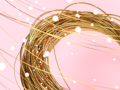 Spiral Gold 3d blender render illustration 3dart cycles rendering particle particles wire gold concept c4d clean abstact glitch spiral light aep glitch art