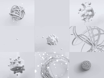 Abstract Project Clay 3d animation white molecular particles c4d glitch abstract clay clean concept animation motion particle bubbles rendering cycles illustration render blender 3d