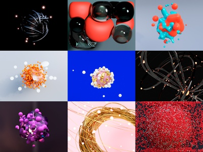 Abstract Project 3d blender render illustration cycles rendering bubbles particle motion animation collection concept clean abstract glitch c4d particles molecular colors 3d animation