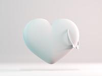 Heart - Clay minimal doodle design 3d illustration 3d artist 3d art love c4d cycles clean clay white simple rendering render illustration blender 3d arrow heart