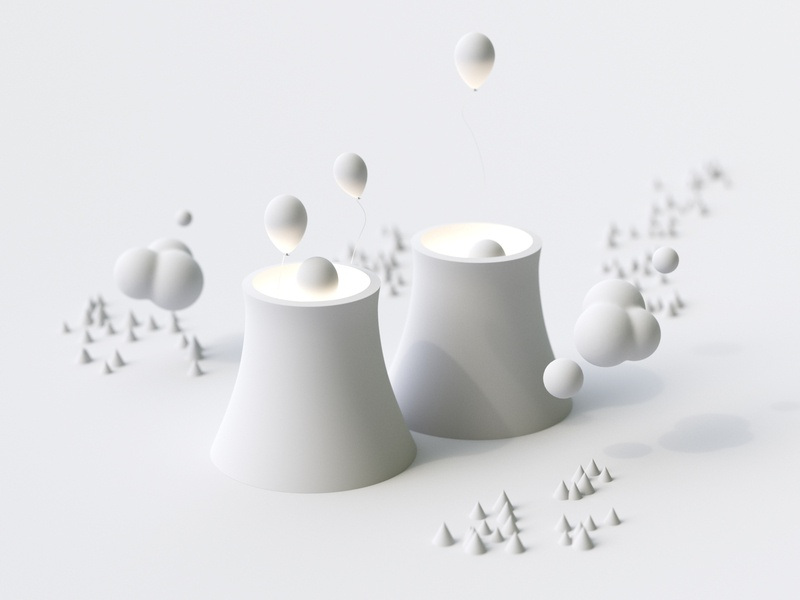 Nuclear Balloons - Clay landscape cloud 3d blender illustration render rendering simple white clay clean cycles c4d 3d art 3d illustration design doodle minimal balloons nuclear