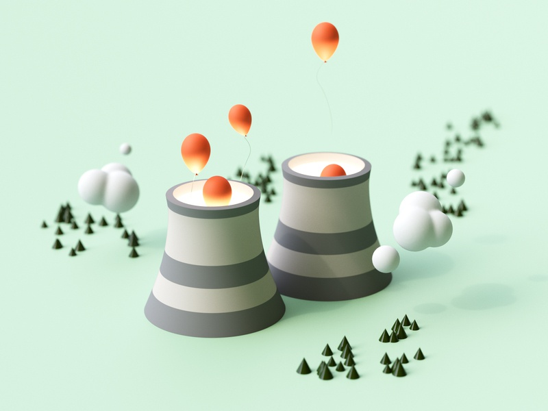 Nuclear Balloons light balloons minimal doodle design 3d illustration 3d art c4d cycles clean green simple rendering render illustration blender cloud nuclear 3d landscape
