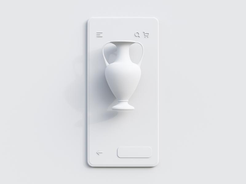 3D E-Commerce - Clay web concept app skeuomorph ui user interface neomorphism webdesign clean white clay c4d object e-commerce design cycles illustration render 3d blender