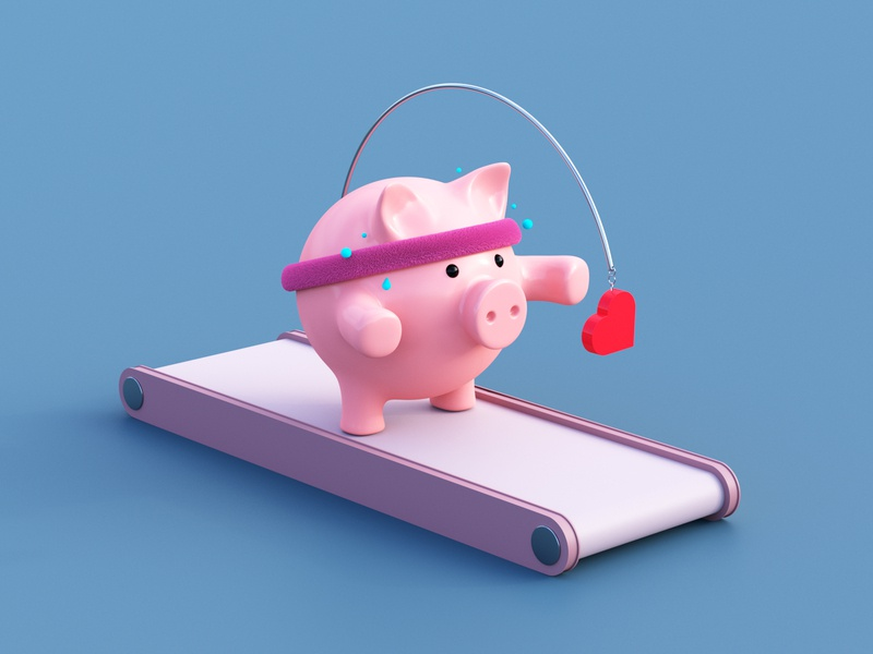 Follow the like follow sweat sport social running run like heart concept color 3d artist pig c4d 3d illustration cycles rendering illustration render blender 3d