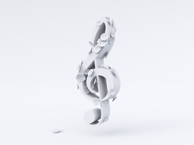 Music Bloom - Clay violin flower musical concept 3d artist floral white clay treble clef flowers bloom music c4d 3d illustration cycles rendering illustration render 3d blender