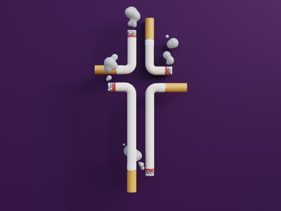 Smoking blender 3d render illustration rendering cycles c4d flat clean concept smoking smoke cloud cross simple cigarette clouds filter crucifix bad habits