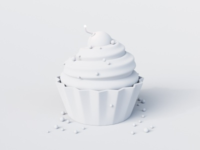 Killer Cupcake - Clay food cherry doodle sugar cute cupcake clean bomb sweet concept white clay c4d simple cycles rendering illustration render 3d blender