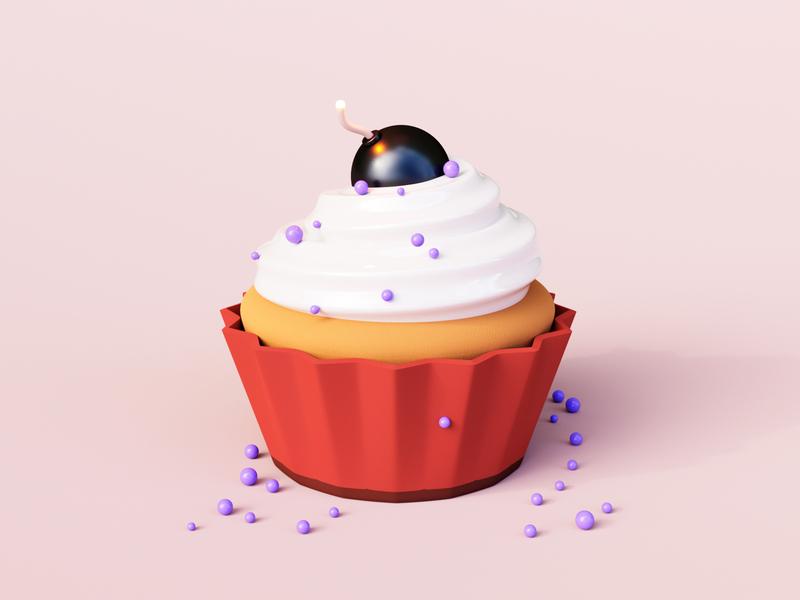 Killer Cupcake bakery clean sweet sugar food doodle cute cherry c4d bomb cupcake killer concept simple cycles rendering illustration render 3d blender