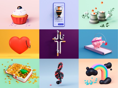 Illustrations Vol 1 Collection clean pig rainbow flat cute cloud sweet neomorphism user interface doodle colors collection heart c4d rendering render cycles illustration 3d blender
