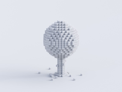 Apple Tree - Clay isometric magicavoxel concept c4d clay cherry 3dmodel 3d voxelart lowpoly cycles rendering render blender3d blender illustration tree pixel pixelart voxels
