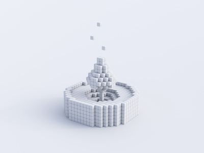 Pixel Candle - Clay vector cinema4d isometric doodle concept fire candle blendercycles b3d c4d cycles clay white pixel 3d art rendering illustration render 3d blender
