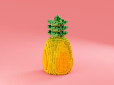 Pixel Pineapple geometry concept cinema4d blender3d pixel simple square cube doodle tropical fruit tropical fruit juicy pineapple food illustration 3d art render 3d blender