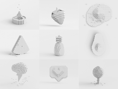 Pixel Art 3D Exploration  - Clay Collection minimal design art app icon white pixelart doodle pixel clay concept 3d illustration c4d 3d art cycles rendering illustration render 3d blender