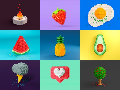 Pixel Art 3D Exploration  - Collection object art app icon pixelart design minimal concept doodle pixel simple 3d illustration c4d 3d art cycles rendering illustration render 3d blender