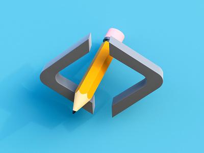 Graphics & Code web typogaphy clean uiux cinema 4d blender 3d programming developer design yellow cartoon code draft illustration icons pencil pencils tools cute