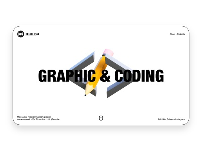 Moosa - Home Page Light 3d code pencil blender landing web design clean branding interface ui ux minimal layout website concept home page landing page app design web