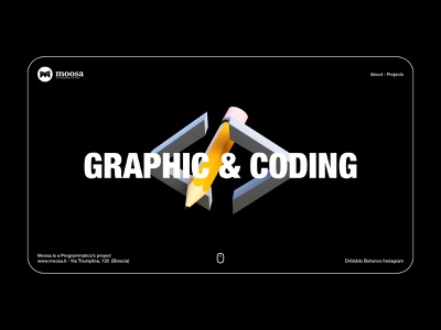 Moosa - Home Page Dark pencil web design app blender code 3d concept website layout minimal uxui ux ui interface branding clean web desing landing page landing