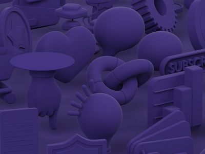 Cover image for Rule Project e-commerce bulb hand 3d illustration 3d art clay clean purple violet 3d icon icon design icon set icons icon octane cinema 4d rendering render blender 3d