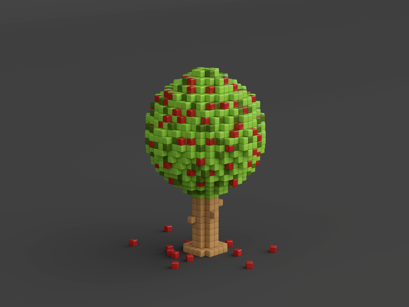 cherry tree voxels blender3d illustration 3dart artwork blender render lowpoly cute pixel pixelart 3d modelling cherry tree 3d illustration 3d