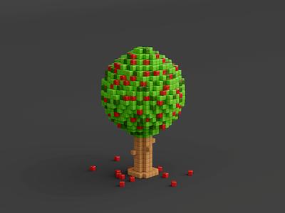 Apple tree voxels blender3d illustration 3dart artwork blender render lowpoly cute pixel pixelart 3d modelling cherry tree 3d illustration 3d