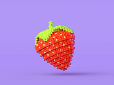 strawberry voxels illustration 3dart artwork blender 3d modelling 3d illustration pixelart pixel lowpoly strawberry blender3d render 3d