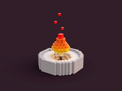 Pixel Candle voxels candle 3d modelling lowpoly pixel pixelart illustration 3dart 3d illustration render blender3d 3d