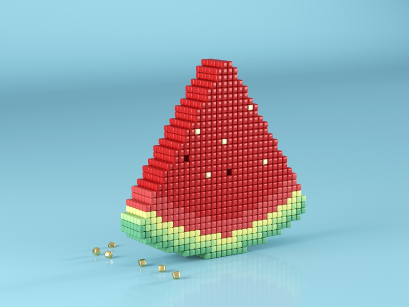 Pixel Watermelon voxels blender pixelart pixel lowpoly artwork 3d modelling 3d illustration 3dart illustration blender3d render 3d
