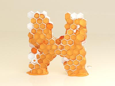 H for Honey exagon blender 3d 36daysoftype cycles art artwork colour dribble digital art illustration letter material lettering render type typography vector vector art alphabet