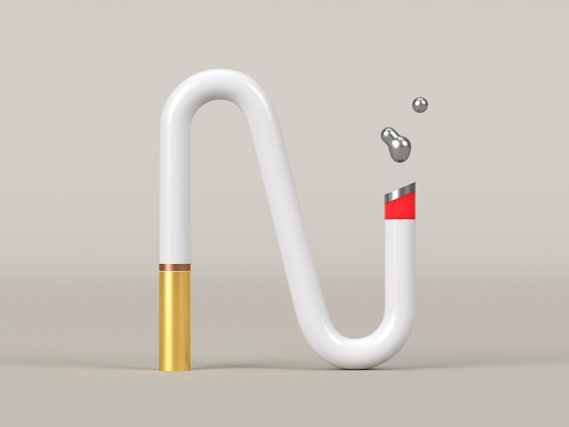 N for Nicotine rendering simple digital art smoke alphabet cycles dribble 36daysoftypes typography typo gold nicotine n render blender lettering letter 3d art 3d