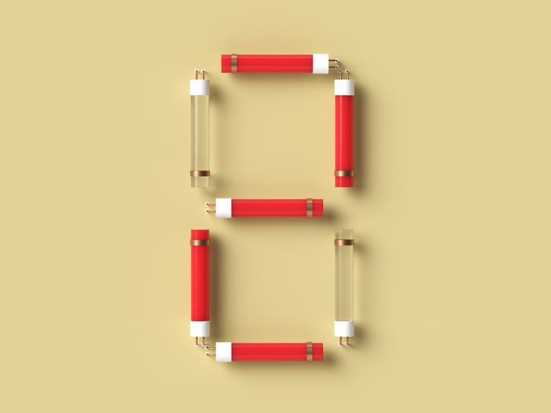 Two for... rendering neon light numerology red simple 2 two number 3d illustration 3d art dribble cycles 36daysoftype vector typography illustration blender render 3d