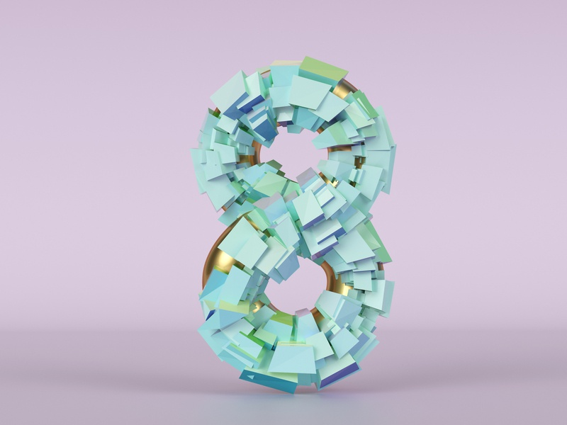 Eight for... numerology number 3d artwork rendering simple gold 8 eight 3d art 3d illustration dribble cycles typography 36daysoftype vector illustration blender render 3d