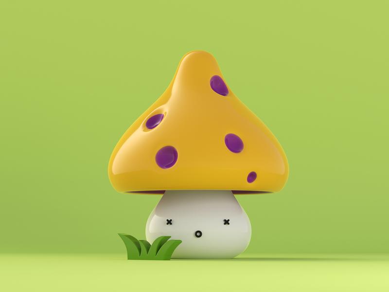 Poisonous Mushroom character 3d mushrooms blender 3d poison doodle character mushroom simple rendering 3d art 3d illustration dribble cycles illustration blender render 3d clean characterdesign c4d
