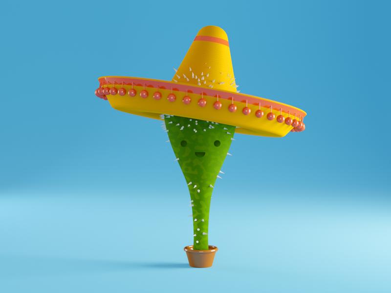 Mexican Cactus simple creative doodle art character design blender 3d doodle mexican mexico cactus 3d character character c4d rendering 3d art 3d illustration dribble illustration blender render 3d