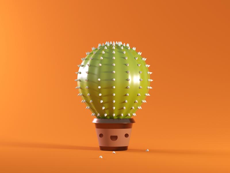 Balloon Cactus c4dart character design simple smile c4d blender 3d 3d character character balloon cactus doodle dribbble rendering 3d illustration 3d art cycles illustration blender render 3d