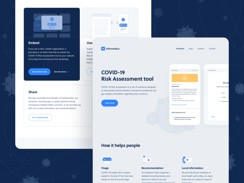 COVID-19 Risk Assessment Tool - Landing Page landingpage coronavirus ehealth api doctor symptoms symptom checker covid-19 covid19 covid homepage app product product page healthcare artificial intelligence health ai website landing page